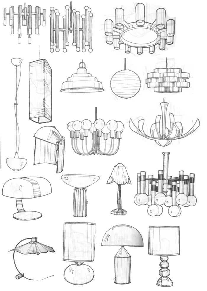 室内设计手绘图效果单体